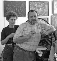 Марина Варфаламеева и Борис Кунин в мастерской